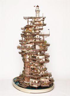 These bonsai buildings are miniature model worlds created by Takanori Aiba and Kazuya Murakami Tiny World, Objet D'art, Japanese Artists, Model Building, Art Plastique, Magazine Art, Home Art, Fantasy Art, Concept Art