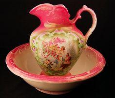 Petrus Regout & Co Hand Painted Wash Bowl/Pitcher