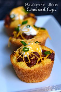 These kid-friendly Sloppy Joe Cornbread Cups make a terrific dinner and the perfect appetizer for game day! | MomOnTimeout.com #sponsored #Manwich