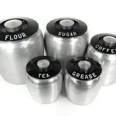 Vintage Kromex Kitchen Canister Set / Aluminum Art Deco / Flour Sugar Coffee Tea Grease