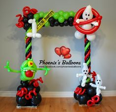 Frighteningly fabulous frame for kid Halloween party costume pictures Halloween Balloons, Halloween Party Costumes, Halloween Birthday, Halloween Party Decor, Halloween Kids, Balloon Wall, Balloon Arch, Ghostbusters Birthday Party, Ballon Decorations