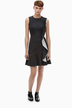 Two-Tone Ruffled Stretch-Jersey Dress - Shades of Fall | Adolfo Dominguez shop online