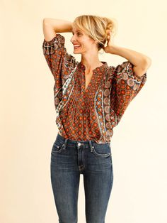 Love street top by Warm. Dolman style. Pintucked pleated front. Cropped length…
