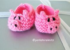 Hand Knitted Baby Bootees Slippers Pigs by HandKnittedYorkshire