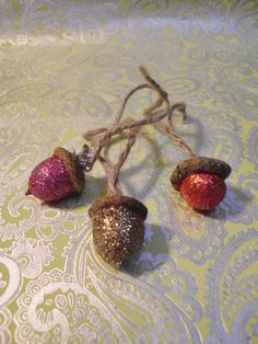 DETAILS: This is a one of a kind handmade creation by Caroline Michelle Sherman. Real Acorn Christmas Ornaments Covered in Fine Glitter Hung