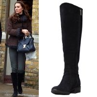 The 'Charge It' black suede boots first made an appearance in February 2011 when Kate was snapped having lunch with Camilla, her future mother-in-law. Kate tends to wear them when out and about. Her mother Carole and sister Pippa Middleton also have a pair, and are frequently spotted sporting them around town. These knee-high calf riding boots feature a suede leather upper, low stacked heel, and a curved topline.