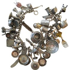 Loaded 1940's-50's Sterling Silver Charm Bracelet with 47 Household Object Charms