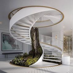 Nature and design create a spectacular combination with this spiral staircase. Home Stairs Design, Home Room Design, Dream Home Design, Modern House Design, Home Interior Design, Modern Houses, Stair Design, Modern Stairs Design, Staircase Interior Design