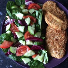#dinner #Quorn #escalopes #salad #foodie #healthyeating #healthyliving #meatfree #lifesyle #morgansnature