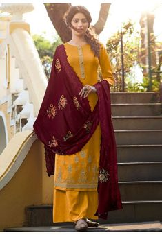 Different Types Of Dresses, Palazzo Suit, Yellow Fabric, Color Yellow, Embroidered Silk, Mustard Yellow, Salwar Kameez, Party Wear, Designer Dresses