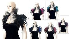 Black Bolero evening Feather Shrug queen Cosplay Shoulder Wrap Collar Burlesque