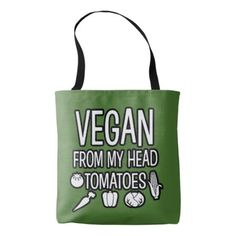 #funny - #Vegan from my head tomatoes funny tote bag