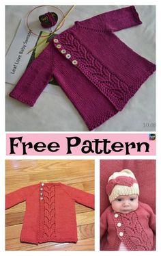 Pretty Knit Baby Cardigan – Free Patterns #freeknittingpatterns #babycardigan #babygift #sweater