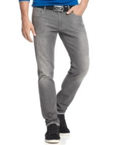 $99, Armani Jeans Slim Fit Comfort Stretch Jeans Grey Wash. Sold by Macy's. Click for more info: https://lookastic.com/men/shop_items/176388/redirect