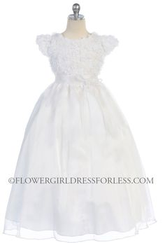 CA_D723 - Girls Dress Style 723 - WHITE ONLY Organza Dress with Floral Bodice Detailing - All First Communion Dresses - Flower Girl Dress Fo...