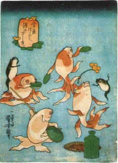 PARTY OF GOLDFISH  KUNIYOSHI UTAGAWA  1798-1861  Last of Edo Period