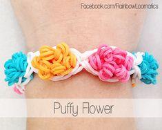 Rainbow loom bracelet puffy flower