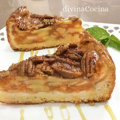 Esta receta de tarta de manzana y nueces se basa en la clásica 'pecan pie' americana, pero la fruta la hace más fresca y cremosa en el interior.