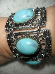 Open Work Wide CUFF Bracelet Faux Turquoise Cabochons Silver Tone PRIORITY MAIL #Unbranded #CuffStatement