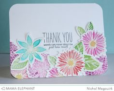 Watercolored florals thank you card featuring Mama Elephant stamps and dies. #mamaelephant #freestyleflorals #bearhugs