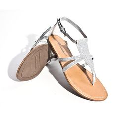 flat sparky flat sandals | ... Lady-Silver-Ankle-Flip-Flop-Glitter-Thong-Strappy-Flat-Sandals-US-6-5