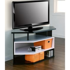 Furniture of America 47-Inch Black and White Contemporary Corner TV Stand | Overstock.com Shopping - Great Deals on Furniture of America Entertainment Centers