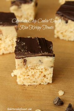 Chocolate Chip Cookie Dough Rice Krispy Treats - theBitterSideofSweet