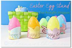 Easter Egg Stands- Free Printable Wrappers @firefam5