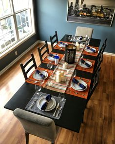 "Complete dining room renovation for Thanksgiving Wall Color: ""Magnet Dapple""… Dining Room Table Decor, Ikea Table, Kitchen Dining, Candle Tray, Candle Holders, Ikea Candles, Chairs For Rent, Industrial Dining Chairs, Cheap Chairs"