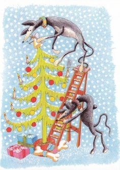 Nigel kindly produced 2 designs of Christmas cards for fund raising for Action for Greyhounds featuring Tillie & Raven.