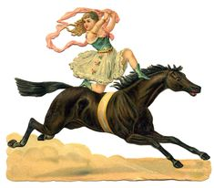 Vintage Circus Clip Art - Daring Acrobat Girl on Horse - The Graphics Fairy