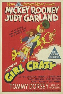 Girl Crazy (1943) starring Mickey Rooney and Judy Garland.  Music and lyrics by George and Ira Gershwin.  June Allyson's feature film debut.