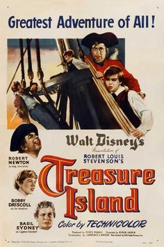 Treasure Island (1950) Directed by Byron Haskin, starring  Bobby Driscoll, Robert Newton, Basil Sydney.. Based on Robert Louis Stevenson's classic novel. Enchanted by the idea of locating treasure buried by Captain Flint, Squire Trelawney, Dr. Livesey and Jim Hawkins charter a sailing voyage to a Caribbean island. Unfortunately, a large number of Flint's old pirate crew are aboard the ship, including Long John Silver. (Synop by Patchy Groundfog) Aye Matey!