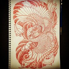 20022016 *taking drawing requests* leave a comment - Request from and others sorry there… Japanese Phoenix Tattoo, Small Phoenix Tattoos, Japanese Tattoos For Men, Japanese Tattoo Art, Japanese Tattoo Designs, Japanese Sleeve Tattoos, Wing Tattoo Men, 1 Tattoo, Phoenix Design