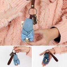 Women Keychain Handbag Nice Denim Shoe Lightweight Pendant Girls Key Ring Holder