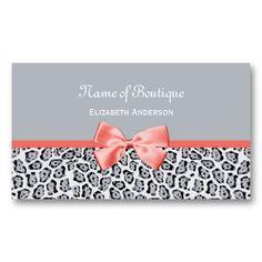 Grey Jaguar Print Boutique With Coral Ribbon Business Cards http://www.zazzle.com/grey_jaguar_print_boutique_with_coral_ribbon_business_card-240621824306879482?rf=238835258815790439 #businesscards #jaguarprint #animalprint #fashion