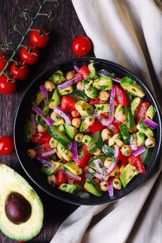 This healthy Mediterranean Chickpea Salad with Avocado, Tomato, Cucumber is vegan and gluten-free! Delicious Spring/Summer chickpea salad that uses lots of fresh vegetables. Caprese Salad Recipe, Chickpea Salad Recipes, Avocado Salad Recipes, Vegetarian Recipes Easy, Cooking Recipes, Healthy Recipes, Vegetarian Stew, Yummy Recipes, Healthy Food