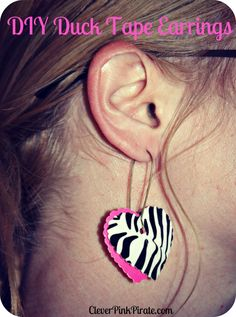 DIY Duck Tape Earrings - » Clever Pink Pirate Duct Tape Projects, Duck Tape Crafts, Washi Tape Crafts, Diy Projects, Diy Crafts For Teens, Fun Arts And Crafts, Craft Activities For Kids, Craft Ideas, Duct Tape Earrings