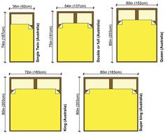 bed dimensions cm - Google Search