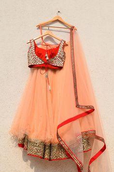 Peach Lehenga With Red Mirror Blouse And Peach Dupatta Half Saree Designs, Choli Designs, Bridal Blouse Designs, Lehenga Designs, Indian Gowns Dresses, Indian Fashion Dresses, Indian Designer Outfits, Indian Outfits, Half Saree Lehenga