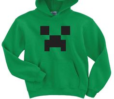 Minecraft Inspired Hoodie - Youth Sizes and Adult Sizes Size S M L XL Green or Pink Sweatshirt on Etsy, $27.99