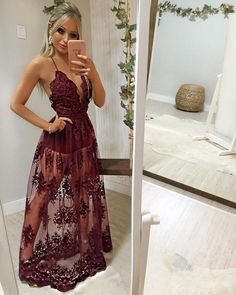 See Through Lace v neck Prom Dresses V Neck Wedding Dress, V Neck Prom Dresses, Cute Prom Dresses, Gala Dresses, Homecoming Dresses, Evening Dresses, Formal Dresses, Wedding Dresses, Dream Dress
