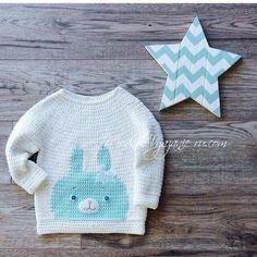 Детский пуловер крючком *Зайка* - Crochet Modnoe Vyazanie
