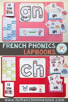 French Phonics Lapbooks: fun, engaging activities for lapbooks and interactive notebooks. Kids focus on one letter-sound correspondence at a time! French Language Learning, Teaching Spanish, Spanish Language, Spanish Activities, Dual Language, German Language, Work Activities, Language Arts, Teaching Reading