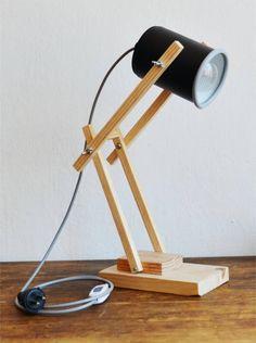 posted©by: █║ Rhèñdý Hösttâ ║█ posted©by: █║ Rhèñdý Hösttâ ║█ Tin Can Lights, Diy Luz, Wooden Desk Lamp, Chandelier Lamp, Wood Design, Design Design, Wooden Diy, Lamp Light, Floor Lamp