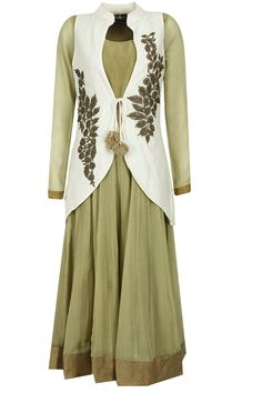 Olive green anarkali with ivory embroidered jacket available only at Pernia's Pop-Up Shop.