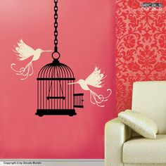Wall decals Whimsical BIRDS & BIRD CAGE surface graphics interior decor by Decals Murals on Etsy, $39.00
