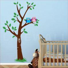 Αυτοκόλλητο τοίχου Δέντρο με κουκουβάγιες Nursery, Wall Decor, Decoration, Home Decor, Wall Hanging Decor, Decor, Decoration Home, Room Decor, Baby Room