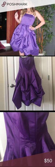 Betsey Johnson Purple Strapless Prom Dress Betsey Johnson Purple Strapless Prom Dress Size 2; the hanger doesn't do this dress justice; super cute tea length prom dress; bodice has boning to keep the structure and the skirt is pin tucked for movement; one pin tuck has a safety pin in it as it was coming loose (like that when purchased) but would be an easy fix; I still have the detachable straps as well that give additional support Betsey Johnson Dresses Prom