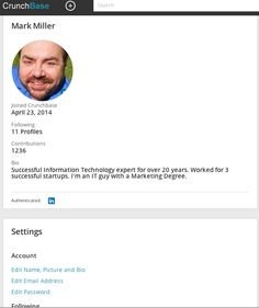 This is new to me, my CrunchBase profile ... http://www.crunchbase.com/user/2636